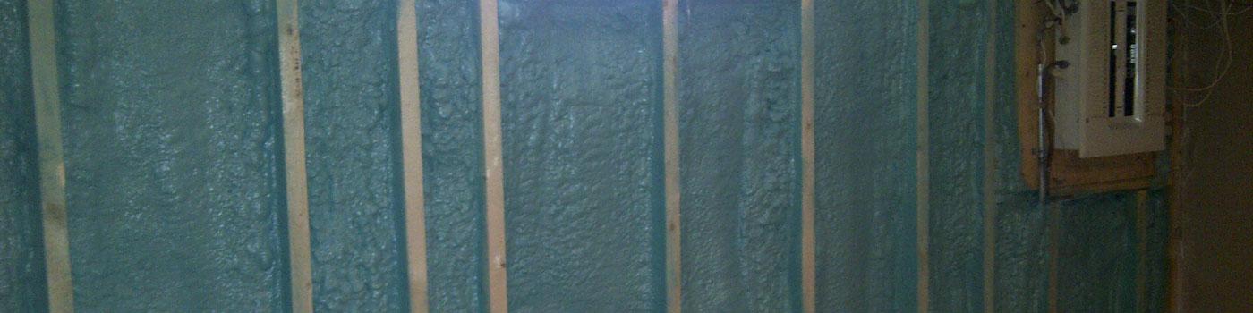 Basement with Blue Spray Foam